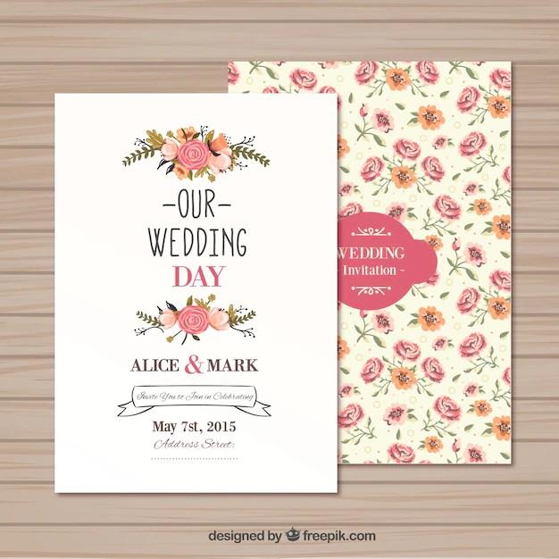 Plantilla de invitación de boda Descargar Vectores gratis - plantillas para invitaciones gratis