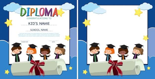 Plantilla de diploma y frontera con niños felices en bata de graduación