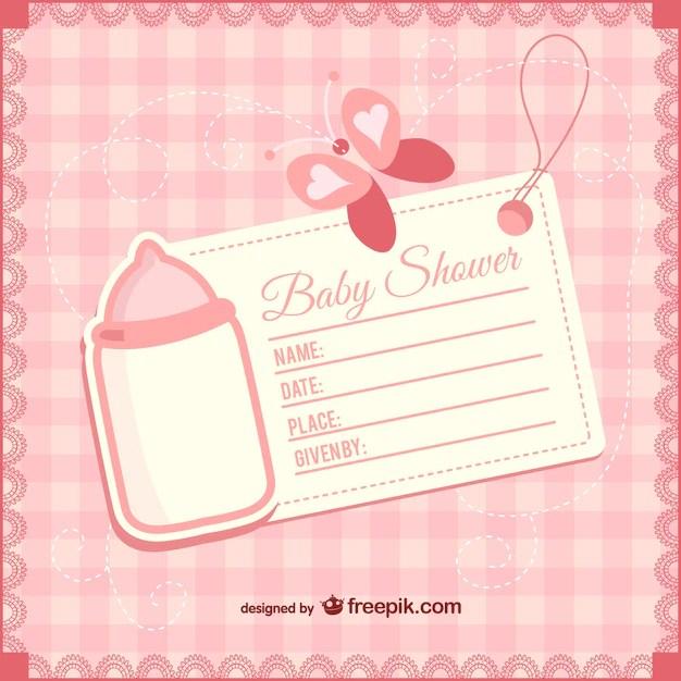 Plantilla de invitación de bebé niña Descargar Vectores gratis