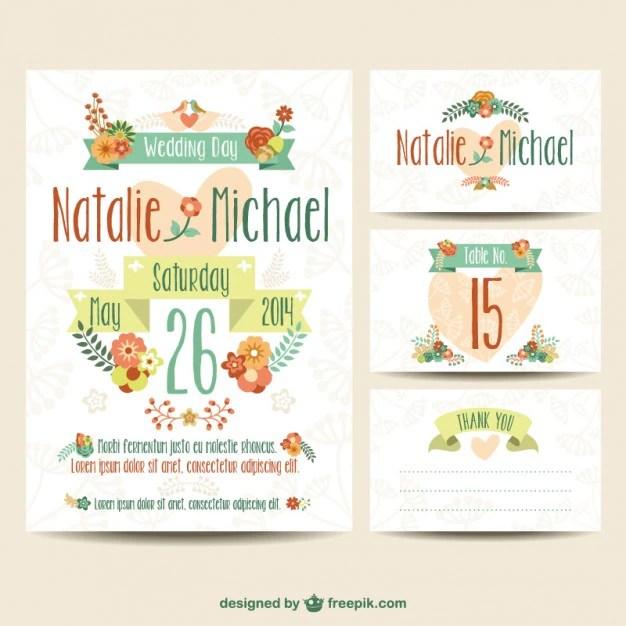 Plantillas de invitaciones de boda imprimibles Descargar Vectores