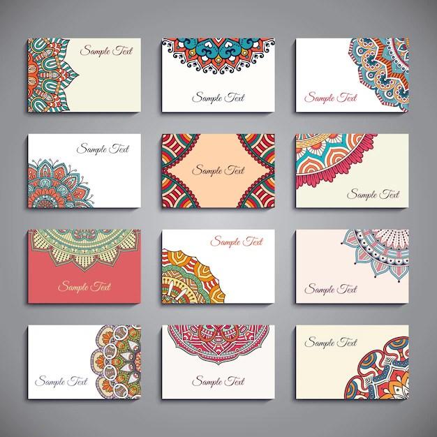 Plantillas de tarjetas con mandalas Descargar Vectores gratis - formatos para gafetes