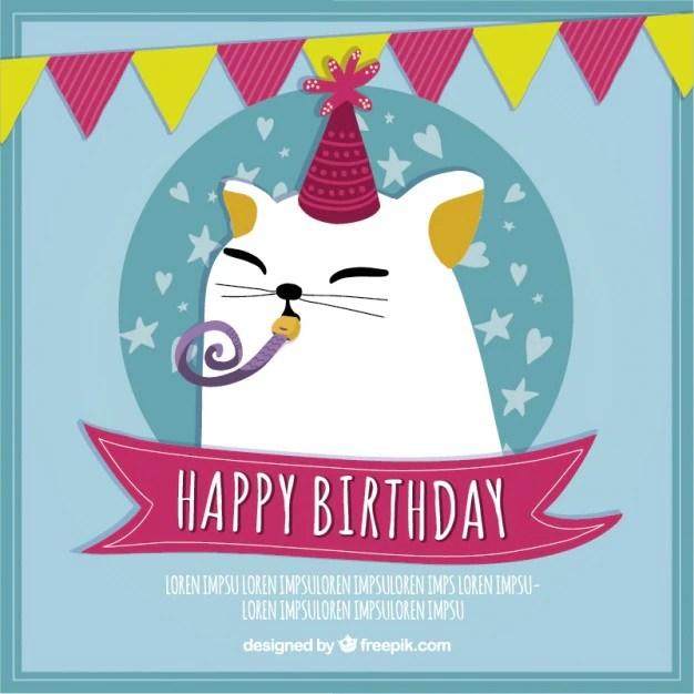 Simpática tarjeta de cumpleaños de gato Descargar Vectores gratis