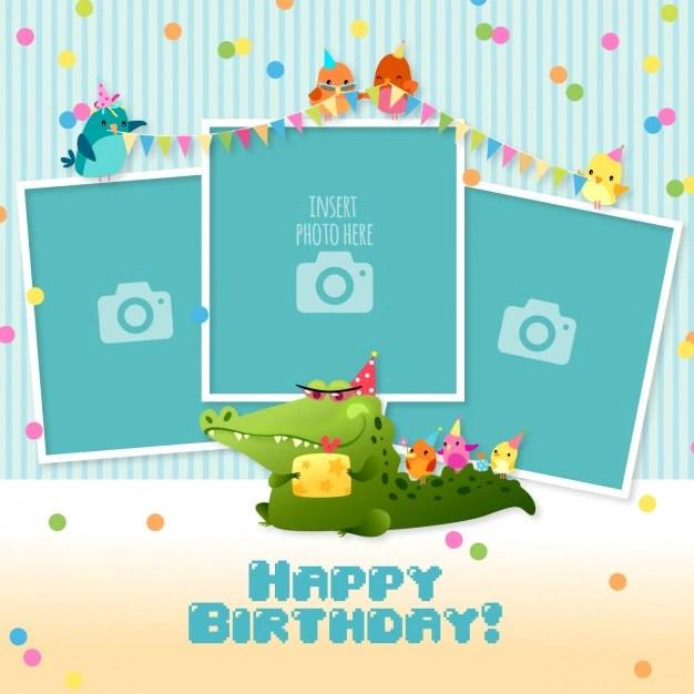 Tarjeta de cumpleaños con plantillas para fotos Descargar Vectores