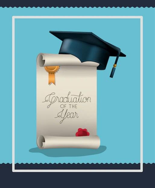 Tarjeta de graduación con diploma y sombrero Descargar Vectores