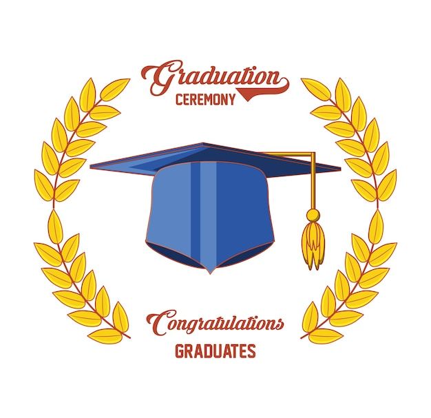 Tarjeta de graduación con el icono de sombrero Descargar Vectores