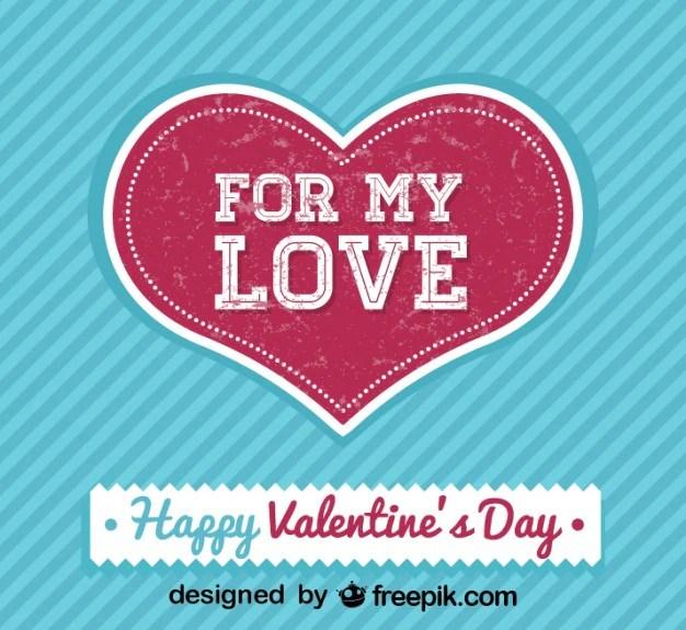 Tarjeta de enamorados para el día de san valentín de estilo retro