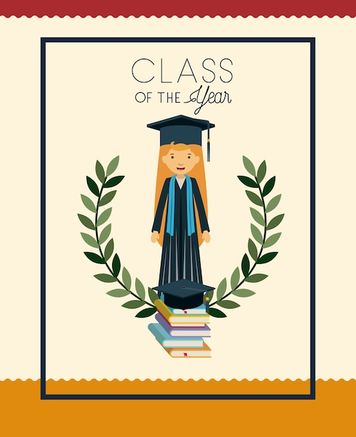 Tarjeta de graduación con personaje de mujer Descargar Vectores