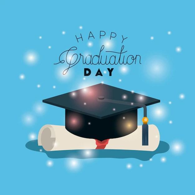 Tarjeta de graduación con sombrero y diploma Descargar Vectores