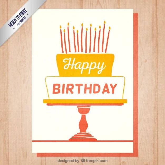 Tarjeta de invitación de cumpleaños retro Descargar Vectores gratis