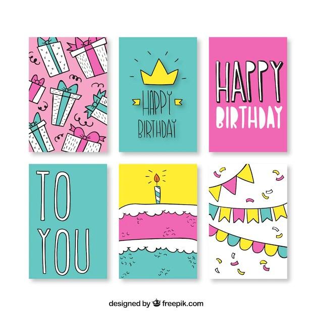 Tarjetas de cumpleaños dibujadas a mano Descargar Vectores gratis