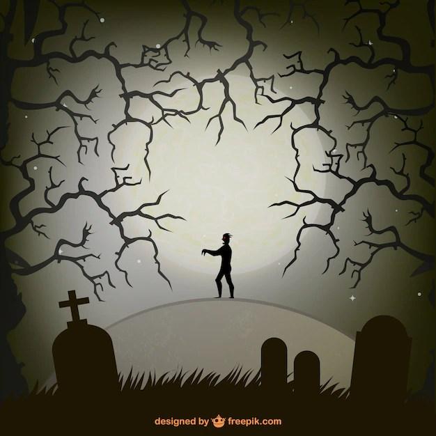 Fall Graveyard Cemetery Wallpaper Zombie En Cementerio Para Halloween Descargar Vectores