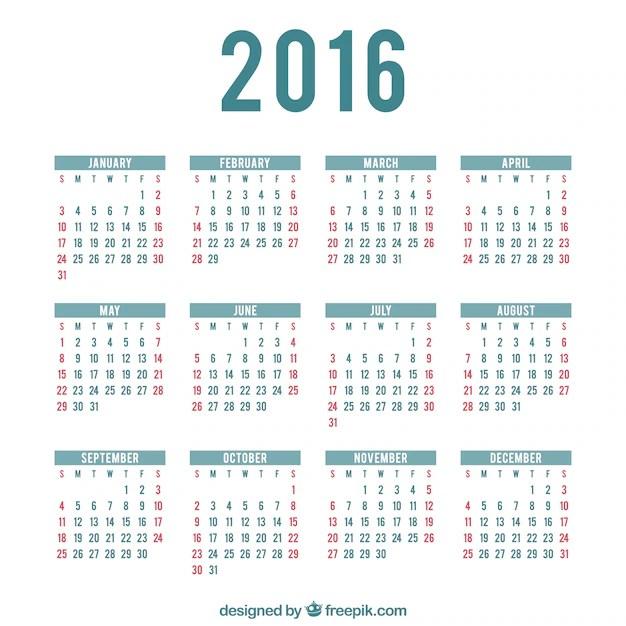 Calendario 2016 Feriados