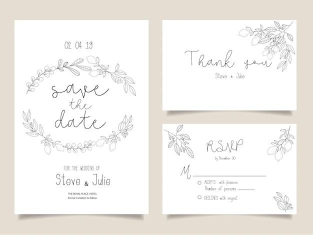 Cartões de convite de casamento, cartão de agradecimento, papelaria