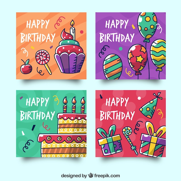 Coleção de cartões de aniversário com elementos de festa Baixar