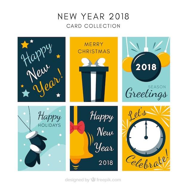 Coleção de cartões do ano novo de 2018 Baixar vetores grátis