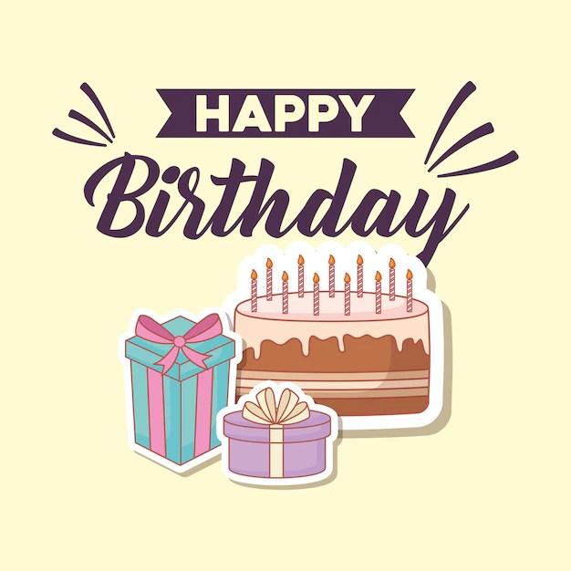 Feliz aniversário cartão postal com bolo e presentes Baixar