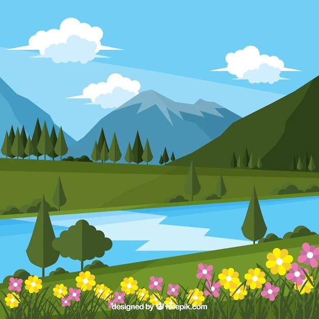 Animal Crossing Fall Wallpaper Fundo Da Flor Da Paisagem E Do Rio Com Montanhas Baixar