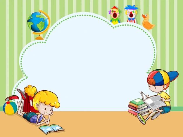 Modelo De Borda Com Criancas Lendo Livros Baixar Vetores