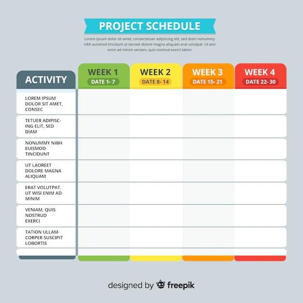 Modelo de cronograma de projeto colorido com design plano Baixar