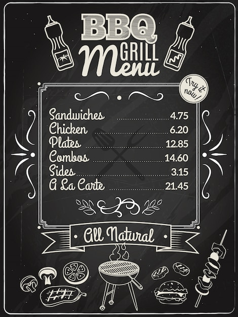 Menu Krijtbord Grill Menu Krijtbord Vector | Gratis Download