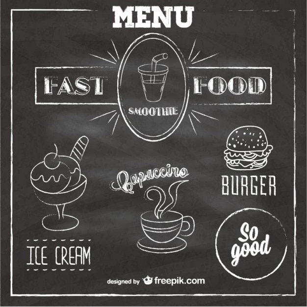 Menu Krijtbord Krijtbord Fast Food Menu Vector | Gratis Download