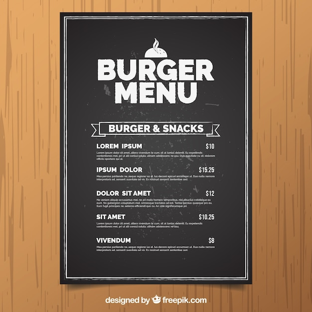 Menu Krijtbord Krijtbord Met Hamburger Menu Vector | Gratis Download
