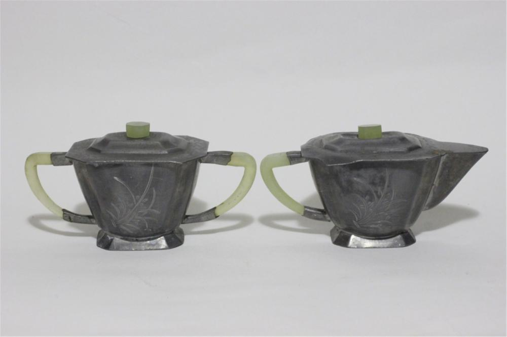 Two Chinese Pewter Tea Cups