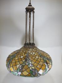 Vintage American bronze & slag glass chandelier