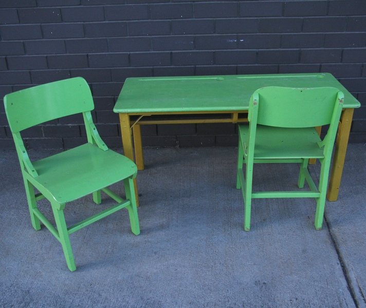 Vintage Children39s School Desk And Chairs Painted Green An