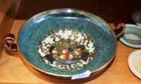 Royal Worcester double handled fruit bowl, with central imag