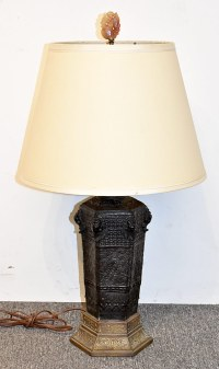Black-glazed Pottery Table Lamp
