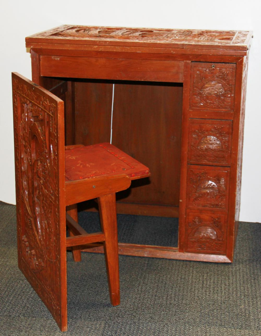 Unusual Desk An Unusual Oriental Carved Sewing Machine Cabinet Desk With
