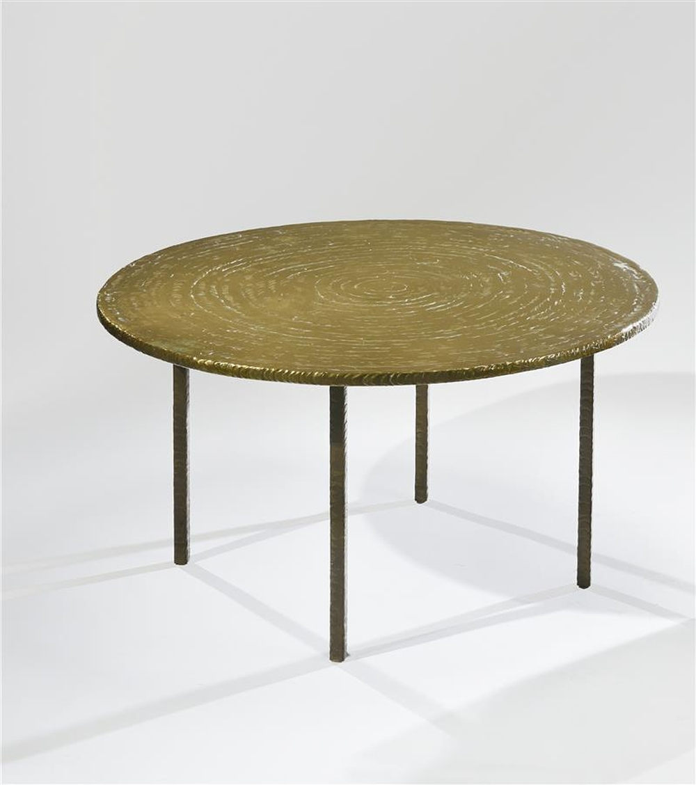 Plateau Table Basse Lot 77 Costa Coulentianos 1918 1995 Table Basse à Plateau Circulaire En Bronze M