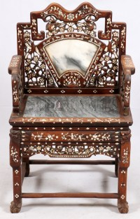 CHINESE CARVED WOOD MARBLE & MOTHER OF PEARL CHAIR
