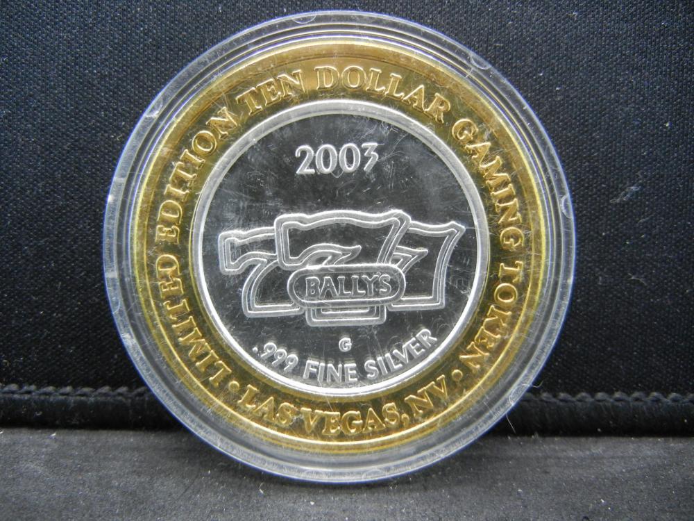 Lucky 777 Las Vegas 10 Silver Gaming Token Deep Proof 999