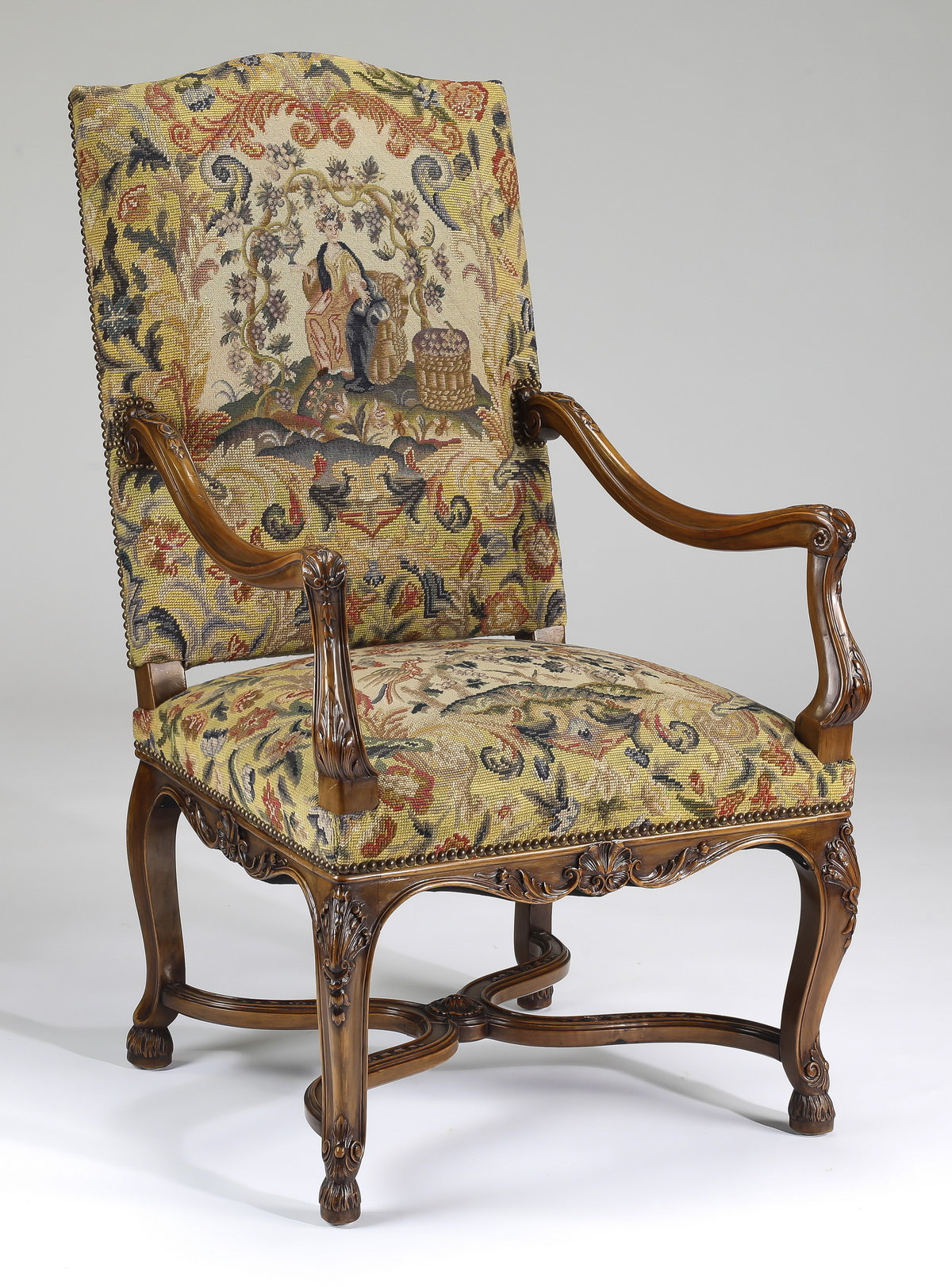 Lot 19th C French Rococo Revival Fauteuil In Needlepoint