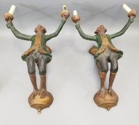 Pair Whimsical Figural Butler Monkey Wall Sconces
