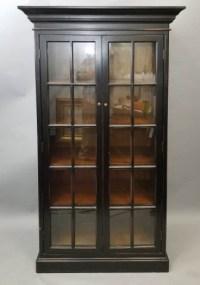 Tall Black Wood Curio Cabinet w/2 Glass Doors