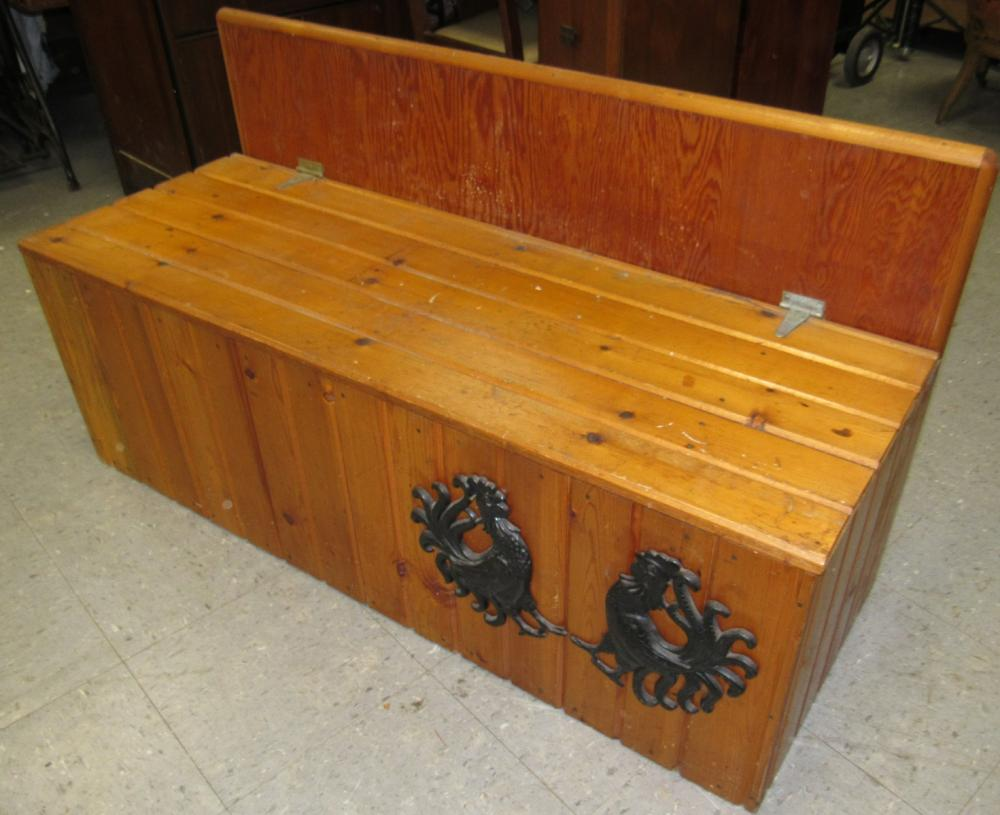 Pine Siding Handmade Pine Siding Blanket Chest Adorn With Two Cast Iron