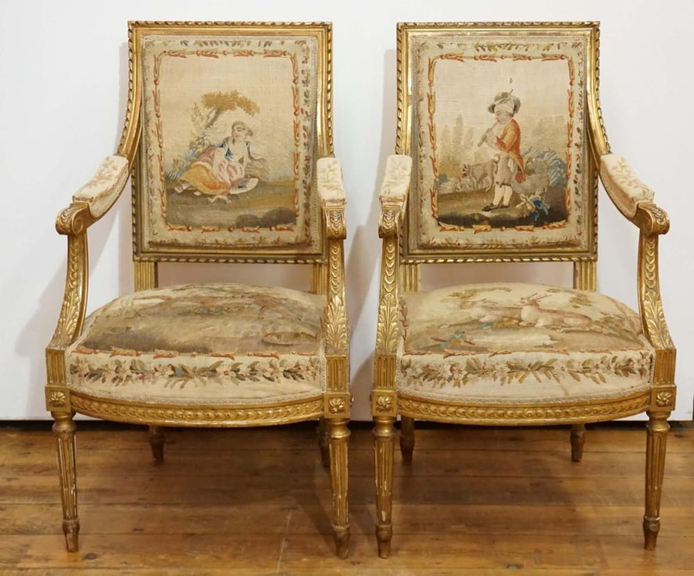 Sold Price Paire De Fauteuils De Style Louis Xvi En Bois Doré February 4 0119 6 30 Pm Cet