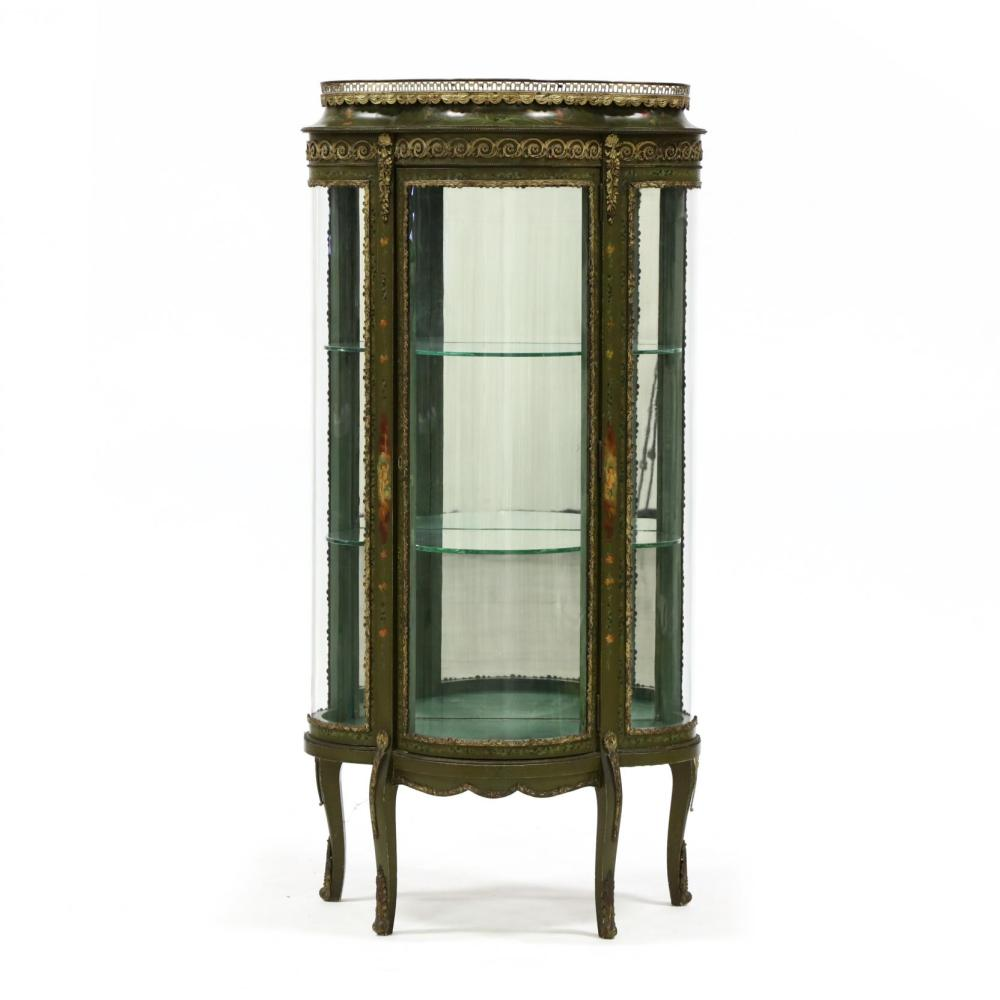Vintage Vitrine Vintage French Paint Decorated Vitrine