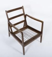 Mid Century Modern Wood Frame Lounge Chair/Ottoman