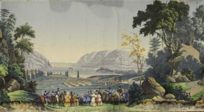 A French scenic wallpaper panel of West Point, New York by Z