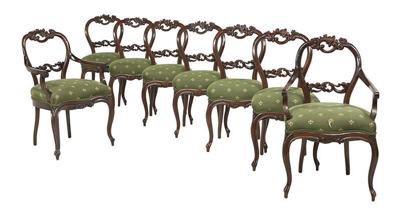 Nine Piece Austrian Rococo Revival Mahogany Dining Room Suit