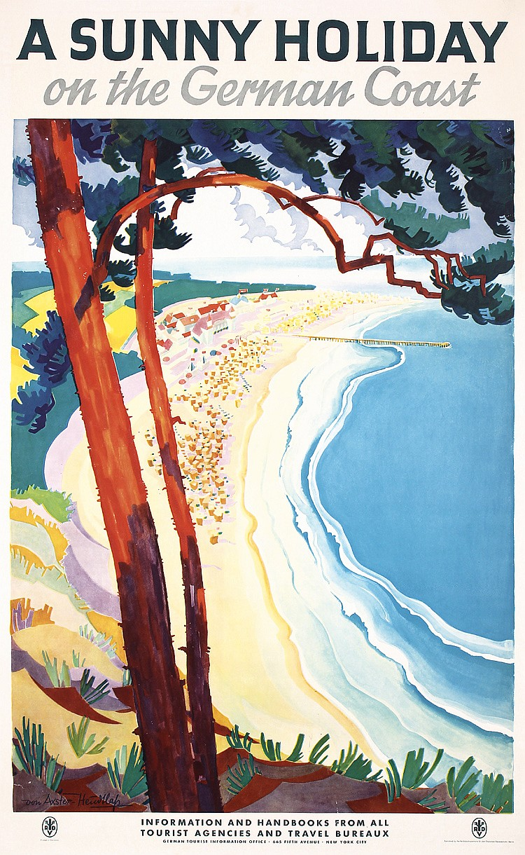 Poster Strand Original 1930s German Coast Beach Travel Poster Plakat