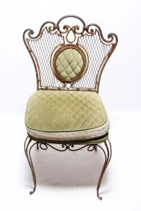 Hollywood Regency Shabby Chic Wrought Iron Chair