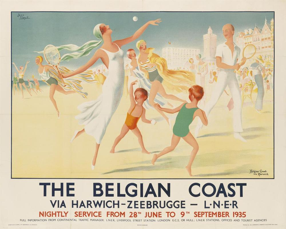 Poster 40x50 Jean Droit 1884 1961 The Belgian Coast 1934 40x50 Inche