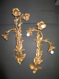 Vintage Dore' Bronze Art Nouveau Sconces