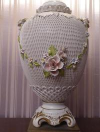 Antique German Porcelain Table Lamp.
