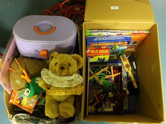 Two Boxes Of Plush And Other Assorted Childrens Toys Includi